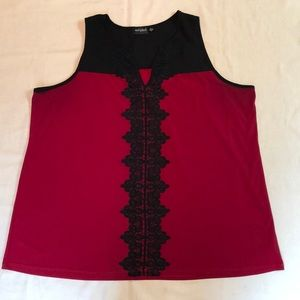 EUC Tempted Red/Black Lace Trimmed Sleeveless Top